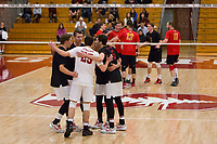 STANFORD, CA - January 2, 2018: Jake Stuebner, Eli Wopat, Jacob Thoenen, JP Reilly at Burnham Pavilion. The Stanford Cardinal defeated the Calgary Dinos 3-1.