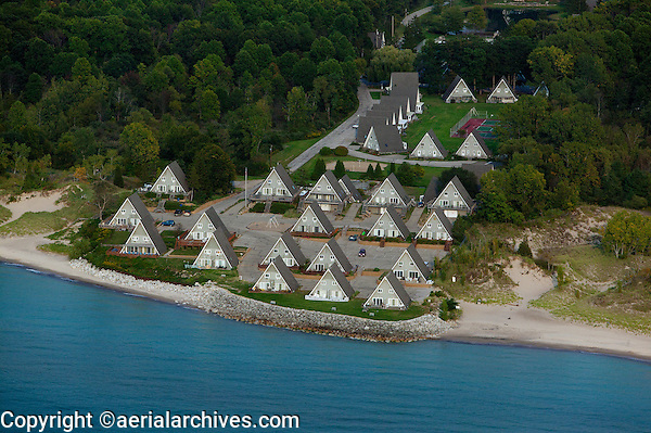 aerial photograph A frame vacation homes Lake Michigan shoreline, Stevensville, MI