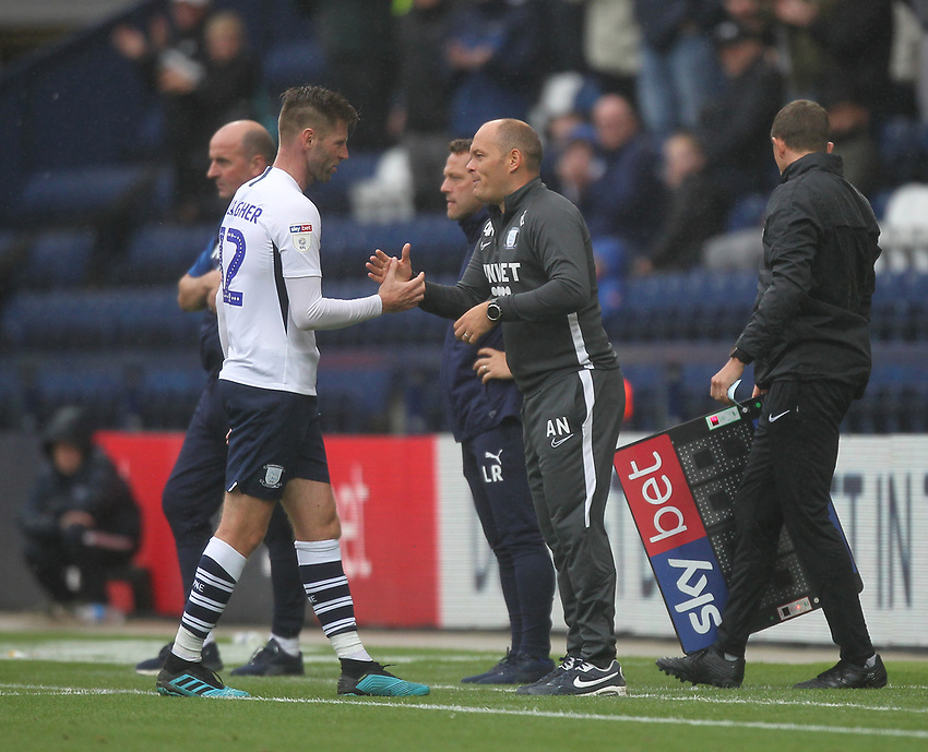 Preston North End's Manager Alex Neil greets Paul Gallagher<br /> <br /> Photographer Mick Walker/CameraSport<br /> <br /> The EFL Sky Bet Championship - Preston North End v Wigan Athletic - Saturday 10th August 2019 - Deepdale Stadium - Preston<br /> <br /> World Copyright © 2019 CameraSport. All rights reserved. 43 Linden Ave. Countesthorpe. Leicester. England. LE8 5PG - Tel: +44 (0) 116 277 4147 - admin@camerasport.com - www.camerasport.com