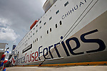 America Cruise Ferries, restart operations between Puerto Rico and Dominican Republic.The ferry-cruise ship can transport 1,100 passengers and a carries a combination of 150 containers and around 70 vehicles in every crossing. ViewPress/ Kena Betancur