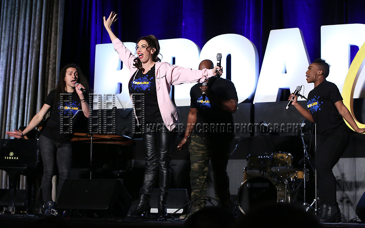 """Jordan Fife Hunt, Lesli Margherita,  Dwelvan David and Tanisha Moore from """"Emojiland"""" during the BroadwayCON 2020 First Look at the New York Hilton Midtown Hotel on January 24, 2020 in New York City."""