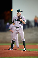 Siena Saints starting pitcher Brendan White (31) looks in for the sign during a game against the Florida Gators on February 16, 2018 at Alfred A. McKethan Stadium in Gainesville, Florida.  Florida defeated Siena 7-1.  (Mike Janes/Four Seam Images)