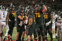 College Park, MD - October 22, 2016: Maryland Terrapins running back Lorenzo Harrison (23) celebrates with his teammates after scoring a touchdown during game between Michigan St. and Maryland at  Capital One Field at Maryland Stadium in College Park, MD.  (Photo by Elliott Brown/Media Images International)