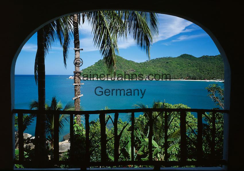 Thailand, island Ko Pha Ngan, balcony view at Thong Nai Pan Yai bay and beach