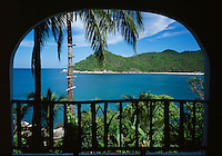 Thailand, island Ko Pha Ngan, balcony view at Thong Nai Pan Yai bay and beach