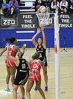 20.1.2014 New Zealand's Jodi Brown scoring a goal during the netball test match against England in London, England. Mandatory Photo Credit (Pic: David Klein). ©Michael Bradley Photography.