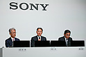 Kazuo Hirai, President and Chief Executive Officer of Sony Corp. (C) speaks during a news conference at the company's headquarters on May 23, 2017, Tokyo, Japan. Hirai announced Sony's midterm financial targets for the current fiscal year ending March 31, 2018. (Photo by Rodrigo Reyes Marin/AFLO)