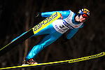 Harri Okki of Finland soars through the night skies during the FIS World Cup Ski Jumping in Sapporo, northern Japan in February, 2008.