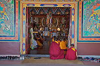 Buddhist Tibetan Monks during a Prayer and lecture at the Kopan Monastery Kathmandu