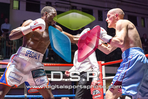 Kay Prosper VS James Doornan - Super Lightweight Contest. Photo by: Stephen Smith.<br /> <br /> Goodwin Boxing: Paddy's Day Punch Up - Saturday 19th March 2016. York Hall, Bethnal Green, London, United Kingdom.