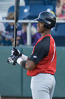August 14, 2007: Salem-Keizer Volcanoes' infielder Sharlon Schoop steps into the batter's box against the Everett AquaSox in a Northwest League game at Everett Memorial Stadium in Everett, Washington.
