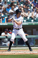 Kevan Smith (36) of the Charlotte Knights at bat against the Gwinnett Stripers at BB&T BallPark on May 2, 2018 in Charlotte, North Carolina.  The Knights defeated the Stripers 6-5.  (Brian Westerholt/Four Seam Images)