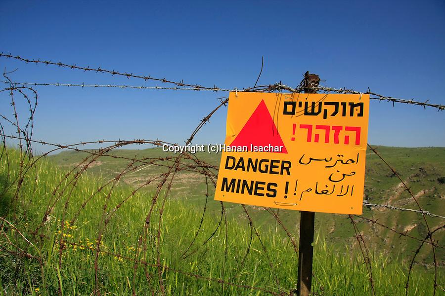 Golan Heights. Danger Mines sign on Mount Susita