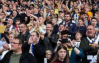 Leeds United fans cheer on their side<br /> <br /> Photographer Alex Dodd/CameraSport<br /> <br /> The EFL Sky Bet Championship - Leeds United v Birmingham City - Saturday 19th October 2019 - Elland Road - Leeds<br /> <br /> World Copyright © 2019 CameraSport. All rights reserved. 43 Linden Ave. Countesthorpe. Leicester. England. LE8 5PG - Tel: +44 (0) 116 277 4147 - admin@camerasport.com - www.camerasport.com