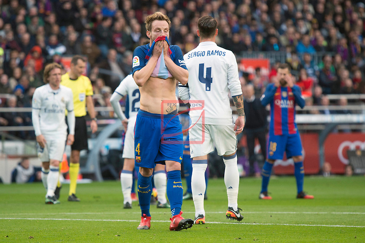 League Santander 2016/2017. Game: 14.<br /> FC Barcelona vs Real Madrid: 1-1.<br /> Ivan Rakitic.