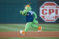 """Charlotte Knights mascot """"Homer"""" runs the bases between innings of the International League game against the Indianapolis Indians at BB&T BallPark on April 27, 2019 in Charlotte, North Carolina. The Indians defeated the Knights 8-4. (Brian Westerholt/Four Seam Images)"""