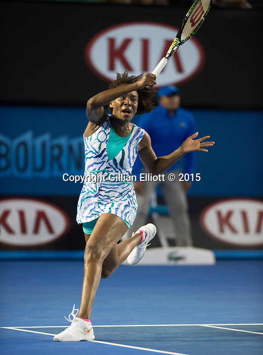 Venus Williams (USA) defeats Agnieszka Radwanska (POL) 6-3, 2-6, 6-1  at the Australian Open being played at Melbourne Park in Melbourne, Australia on January 26, 2015