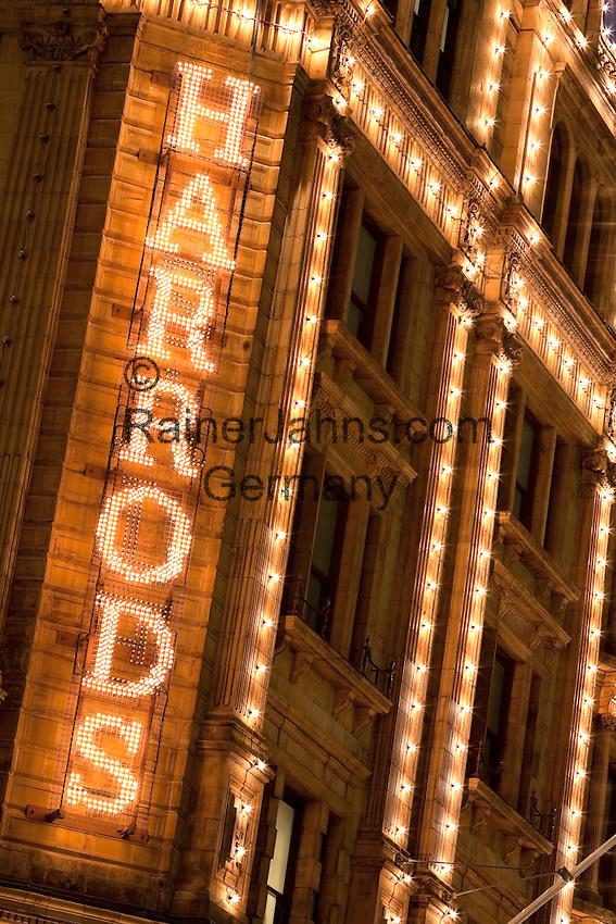 United Kingdom, London, Knightsbridge: Harrods Department Store. Close up of illuminated sign