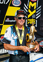 Jun 11, 2017; Englishtown , NJ, USA; NHRA pro stock motorcycle rider Jerry Savoie celebrates after winning the Summernationals at Old Bridge Township Raceway Park. Mandatory Credit: Mark J. Rebilas-USA TODAY Sports