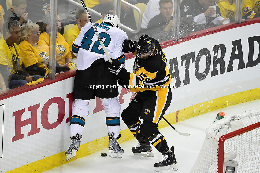 Wednesday, June 1, 2016: Pittsburgh Penguins defenseman Kris Letang (58) battles San Jose Sharks right wing Joel Ward (42) for the puck during game 2 of the NHL Stanley Cup Finals  between the San Jose Sharks and the Pittsburgh Penguins held at the CONSOL Energy Center in Pittsburgh Pennsylvania. Pittsburgh beats San Jose 2-1 in overtime and leads the best of 7 series 2-0. Eric Canha/CSM