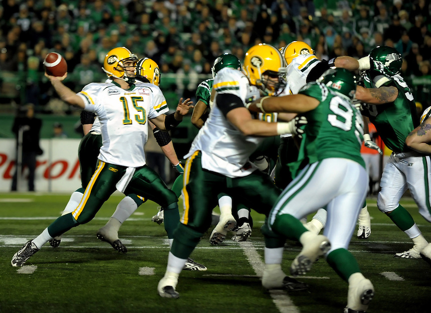 Edmonton Eskimos quarterback Ricky Ray attempts a pass during CFL action against the Saskatchewan Roughriders in Regina Saturday, November 6, 2010. THE CANADIAN PRESS/Mark Taylor.