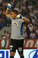 BARRANQUIILLA -COLOMBIA-01-09-2013. Luis Martinez arquero del Nacional celebra un gol durante partido contra Junior válido por la fecha 8 de la Liga Postobón II 2013 jugado en el estadio Metropolitano de la ciudad de Barranquilla./ Nacional goalkeeper Luis Martinez celebrates a goal against Junior during match valid for the 8th date of the Postobon League II 2013 played at Metropolitano stadium in Barranquilla city.  Photo: VizzorImage/Alfonso Cervantes/STR