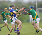 Ahane David Laing &amp; Paul O'Halloran &amp; Patrickswell Diarmuid Byrne in action during their Senior Hurling Championship Round 1 Game played in Bruff Co.Limerick.<br /> Pictured Credit Brian Gavin Press 22