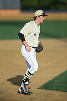 Wake Forest Demon Deacons third baseman Keegan Maronpot (13) on defense against the UConn Huskies at Wake Forest Baseball Park on March 17, 2015 in Winston-Salem, North Carolina.  The Demon Deacons defeated the Huskies 6-2.  (Brian Westerholt/Four Seam Images)