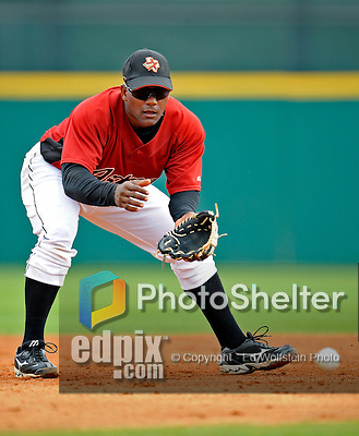 16 March 2008: Houston Astros infielder Miguel Tejada warms up prior to a Spring Training game against a New York Mets split squad at Osceola County Stadium, in Kissimmee, Florida...Mandatory Photo Credit: Ed Wolfstein Photo
