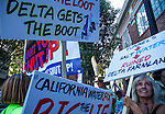 "Restore The Delta supporters gathered in front of the Sheraton Grand Hotel In Sacramento, California on Tuesday, July 28, 2015.  The crowd gathered to protest Governor Jerry Brown's proposal for a twin tunnel system in the California Delta Region.  The crowd gathered for a ""Transform the Open House"" that was held inside the hotel, and were also given the opportunity to speak out on camera their thoughts on the issue.  The film of their presentations will be presented to Secretary of the Interior Sally Jewell and President Obama.  Photo/Victoria Sheridan"