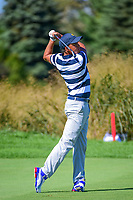 Rickie Fowler (USA) watches his approach shot on 6 during round 1 foursomes of the 2017 President's Cup, Liberty National Golf Club, Jersey City, New Jersey, USA. 9/28/2017.<br /> Picture: Golffile   Ken Murray<br /> ll photo usage must carry mandatory copyright credit (&copy; Golffile   Ken Murray)