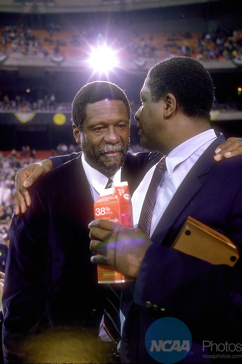 02 APR 1984:  Bill Russel (L) and Georgetown coach John Thompson (R) after the NCAA Men's National Basketball Final Four championship game held in Seattle, WA Kingdome. Georgetown defeated Houston 84-75 for the title. Photo Copyright Rich Clarkson/NCAA PhotosSI CD 1650-08