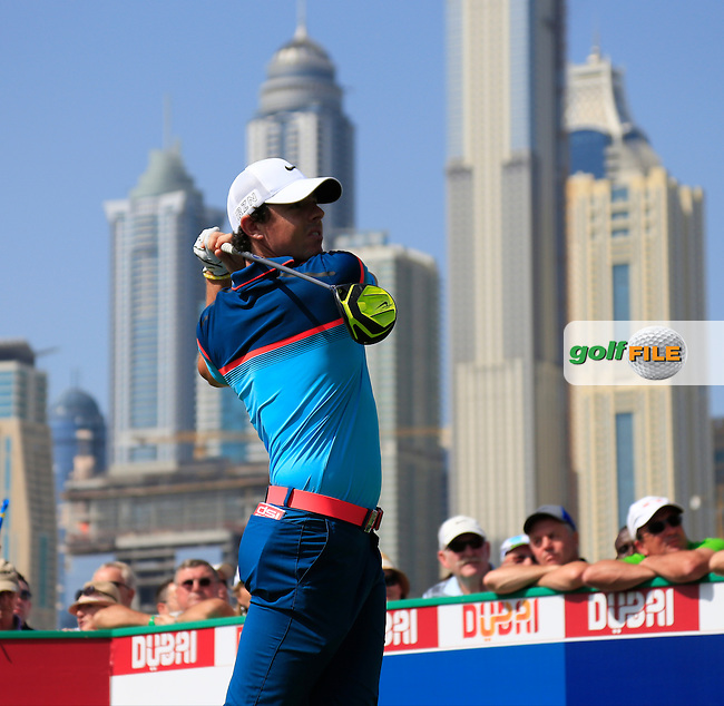 Rory MCILROY (NIR) tees off the 1st tee during Sunday's Final Round of the 2015 Omega Dubai Desert Classic held at the Emirates Golf Club, Dubai, UAE.: Picture Eoin Clarke, www.golffile.ie: 2/1/2015