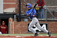 ELON, NC - FEBRUARY 28: Jordan Schaffer #1 of Indiana State University hits the ball during a game between Indiana State and Elon at Walter C. Latham Park on February 28, 2020 in Elon, North Carolina.