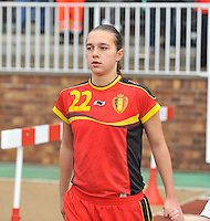 20131011 - SCHWEINFURT , GERMANY :  Belgian Jody Vangheluwe pictured during the female soccer match between Belgium Women U17 and The Netherlands U17 , in the first game of the Elite round in group6 in the UEFA European Women's Under 17 competition 2013 in the Willy Sachs Stadium - Schweinfurt. Friday 11 October 2013. PHOTO DAVID CATRY