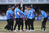 Rashid Khan of Sussex celebrates with his team mates after taking the wicket of Ravi Bopara during Essex Eagles vs Sussex Sharks, Vitality Blast T20 Cricket at The Cloudfm County Ground on 4th July 2018