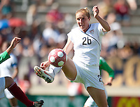 Rachel Buehler kicks the ball. .USA 3-0 over Mexico in San Diego, California, Sunday, March 28, 2010.