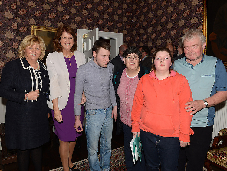 Senator Mary Moran, Minister for Social Protection Joan Bruton, Harry, Grainne, Pat and Caroline Matthews Castletown Dundalk at the launch of the Walk Peer Programme in Bellingham Castle hotel. Photo:Colin Bell/pressphotos.ie