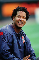 Manny Ramirez of the Cleveland Indians during a game against the Anaheim Angels at Angel Stadium circa 1999 in Anaheim, California. (Larry Goren/Four Seam Images)
