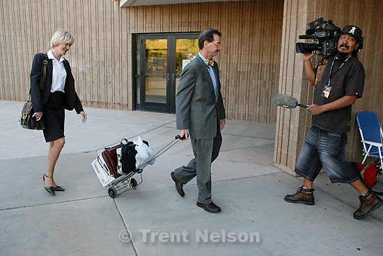 The Warren Jeffs' trial in St. George, Utah. Jeffs, head of the Fundamentalist Church of Jesus Christ of Latter Day Saints, is charged with two counts of rape as an accomplice for allegedly coercing the marriage and rape of a 14-year-old follower to her 19-year-old cousin in 2001.. defense attorney Walter Bugden. defense attorney Tara Isaacson