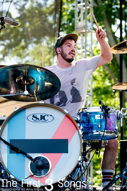 Josh Dun of twenty one pilots performs during Day 1 of the 2013 Firefly Music Festival in Dover, Delaware.