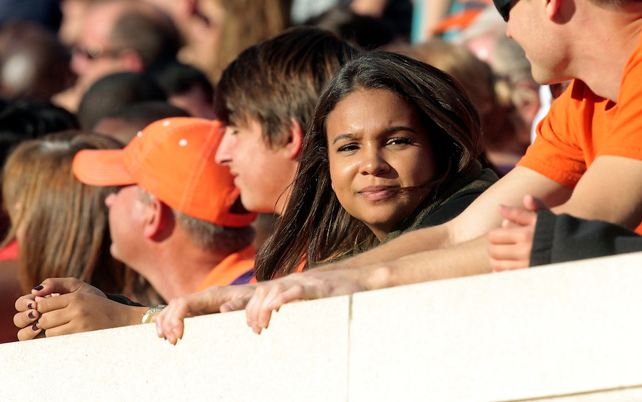 Local celebrity Marcella Robertson watches from the stands during and NCAA football game at Scott Stadium in Charlottesville, VA. Clemson defeated Virginia 59-10. Photo/Andrew Shurtleff