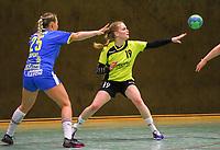 Fabienne Wamser (SG WBW) kommt an Lilli Röpcke (Leipzig) nicht vorbei - 10.03.2019: SG Weiterstadt/Braunshardt/Worfelden vs. HC Leipzig, Sporthalle Braunshardt