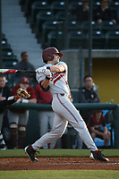 Quinn Brodey (24) of the Stanford Cardinal bats against the Southern California Trojans at Dedeaux Field on April 6, 2017 in Los Angeles, California. Southern California defeated Stanford, 7-5. (Larry Goren/Four Seam Images)