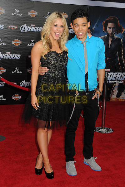 "Chelsie Hightower, Roshon Fegan.""Marvel's The Avengers"" World Premiere held at the El Capitan Theatre, Hollywood, California, USA..April 11th, 2012.full length black dress lace tulle strapless trousers blue turquoise jacket .CAP/ADM/BP.©Byron Purvis/AdMedia/Capital Pictures."