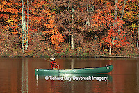 Man fly-fishing in canoe in fall Stephen A. Forbes SP, IL