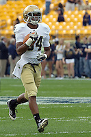 George Atkinson III warms up. The Notre Dame Fighting Irish defeated the Pitt Panthers 15-12 at Heinz field in Pittsburgh, Pennsylvania on September 24, 2011.