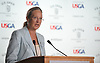 Bridget Fleming, Suffolk County Legislator Second District, speaks during a news conference on Sunday, June 10, 2018 at Shinnecock Hills Golf Club, which is hosting the 118th US Open Championship.