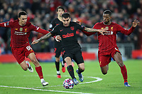 11th March 2020; Anfield, Liverpool, Merseyside, England; UEFA Champions League, Liverpool versus Atletico Madrid;  Angel Correa of Atletico Madrid holds off Trent Alexander-Arnold and Georginio Wijnaldum of Liverpool