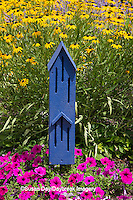 63821-23018 Blue butterfly house in flower garden, Marion Co., IL